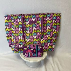Vera Bradley Tote and Wallet - purple - butterfly